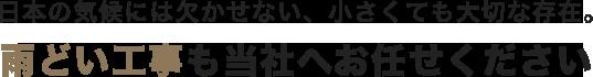日本の気候には欠かせない、小さくても大切な存在。雨どい工事も当社へお任せください